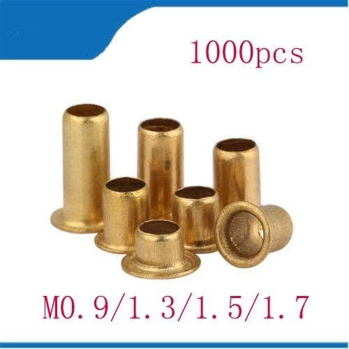 Ochoos 1000Pcs M0.9/1.3L GB876 Tubular Rivets Double-sided Circuit Board PCB Nails Copper Hollow Rivet Nuts - (Stem Length: M0.9 x 2.5)