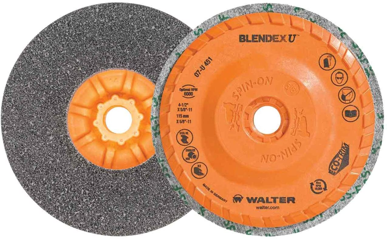 Walter 07U451 4-1/2x5/8-11 Blendex U Multi Purpose Finishing Cup Discs Spin-On with Eco-Trim Backing, 5 pack