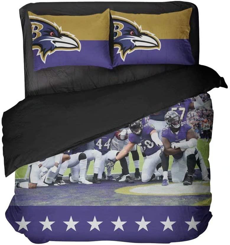 Football Team Players Duvet Cover Sets Modern Pattern Stars Bed Sheet Sets Baltimore Sportsmen Bed Set Queen 3 Pieces(Twin 3pcs)