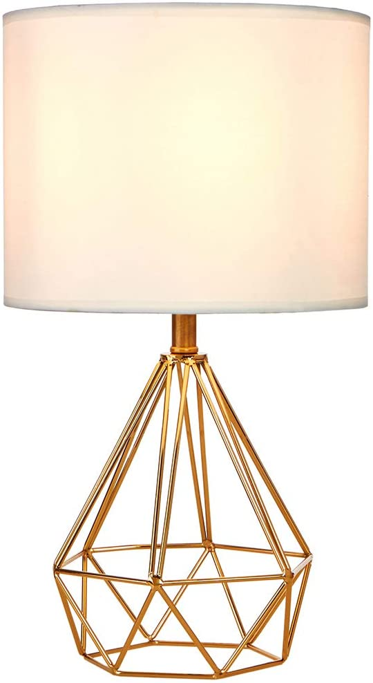 SOTTAE Modern Style Golden Hollowed Out Base Beside Living Room Bedroom Table Lamp, Desk Lamp with White Fabric Shade