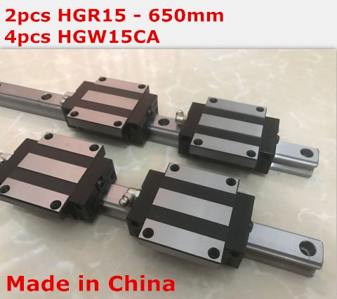 HiShangRC linear rail cnc parts 2pcs HGR15 - 650mm + 4pcs HGW15CA linear block carriage