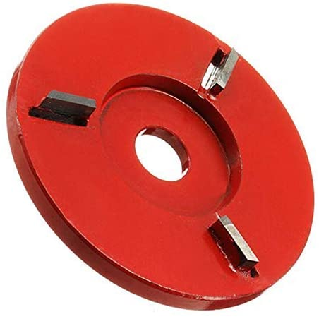 KXA Three-tooth flat wood carving disc polishing and polishing tool milling cutter, 16mm aperture angle grinder woodworking turbine tea tray,Red2 (Color : Redb)