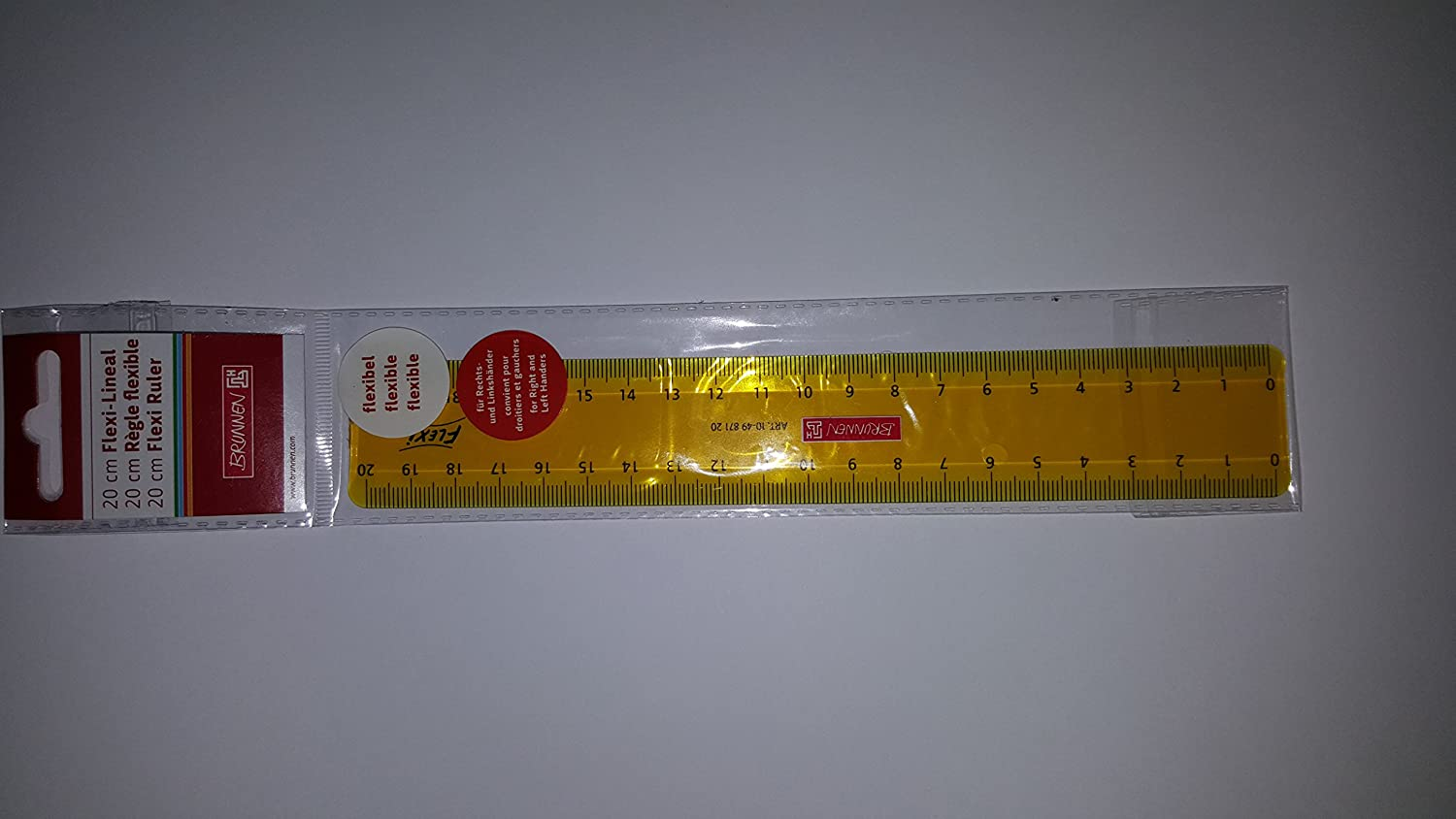 Brunnen Flexi 104987120Unbreakable Ruler for School or Office 20cm, 4Colours, Suitable for Both Left and Rechthänder)