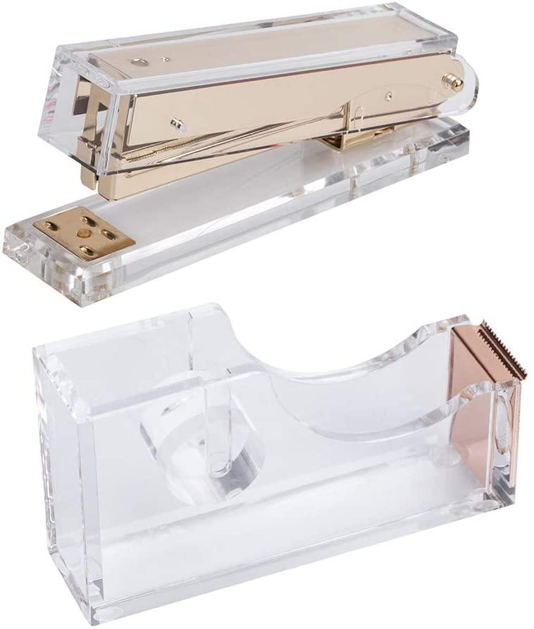 E&O Acrylic Office & Desk Sets-1 Stapler&1 Tape Dispenser- Gold - 2/Pack(Gold+Rose Gold)