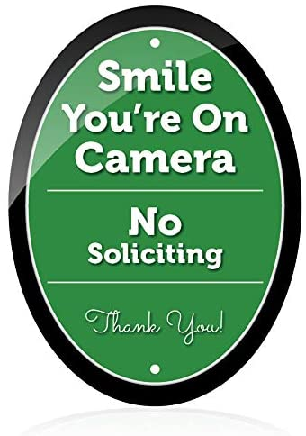 NO Soliciting Sign for House | Smile You're On Camera | 7.5