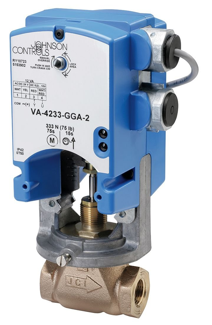 Johnson Controls VA-4233-BGC-2 VA-4233 Series Electric Valve Actuator, Automatic Spring Return, On/Off Control, Two Auxiliary Switches