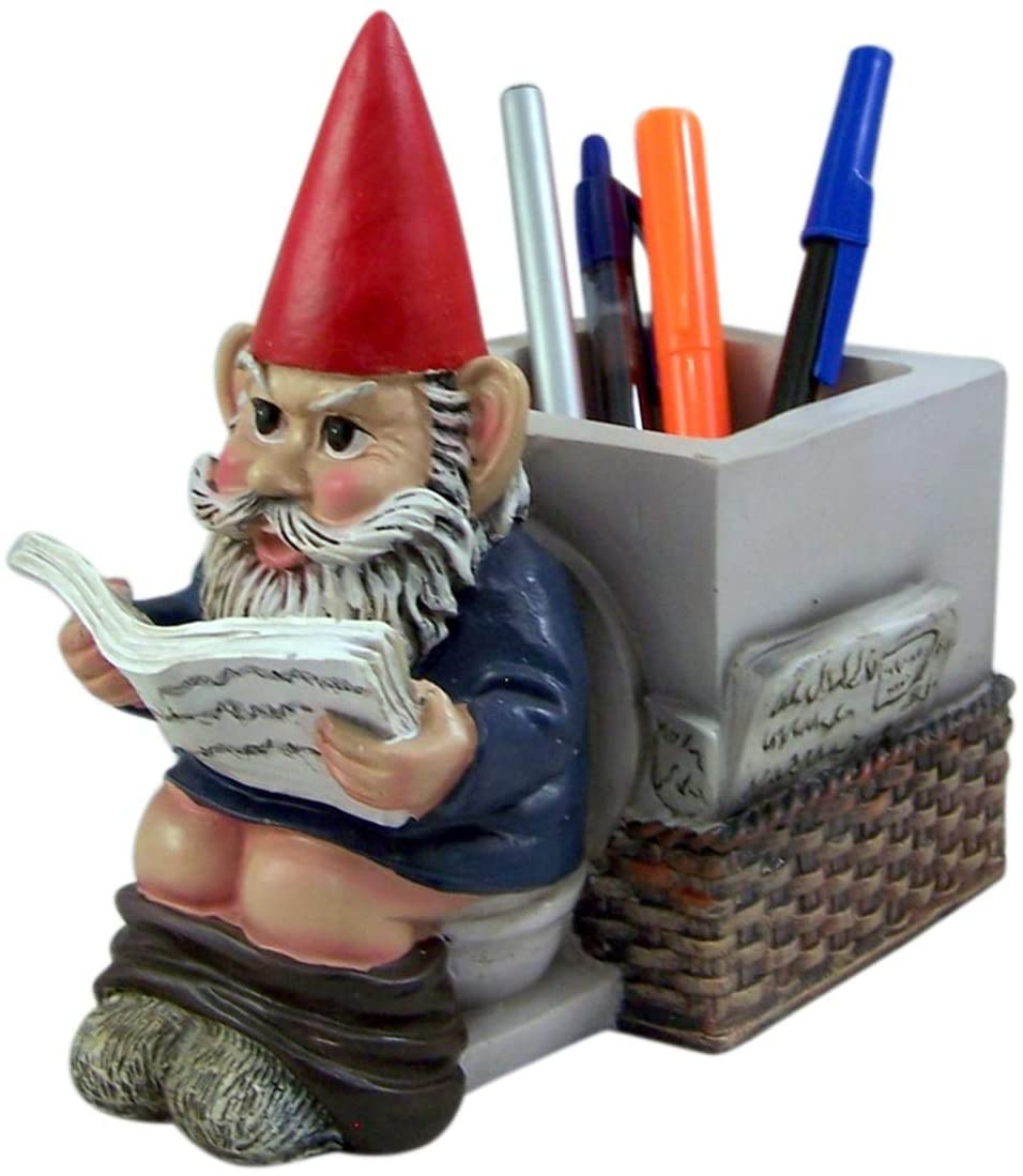 Serious BusinessGnome on Toliet Pen and Pencil Holder Desk Organizer, 9 Inches