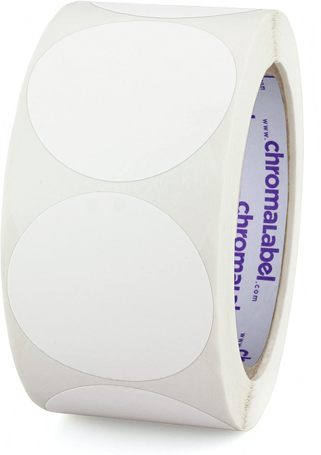 ChromaLabel 2 Inch Round Permanent Color-Code Dot Stickers, 500 per Roll, White
