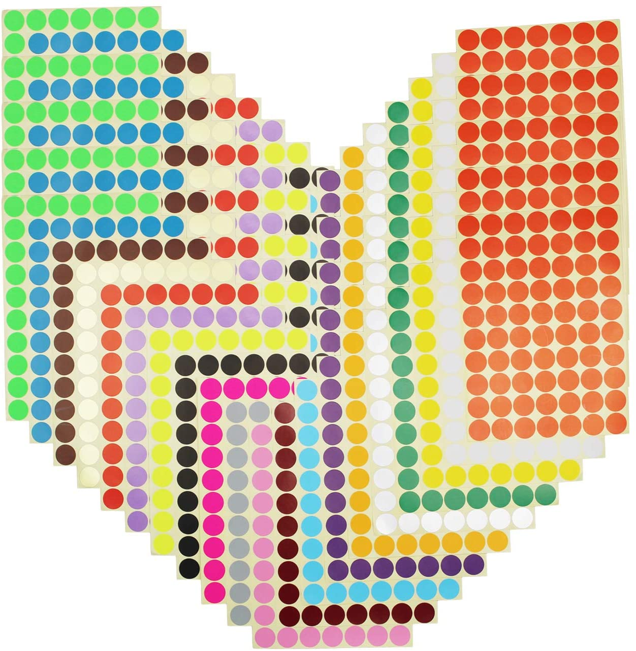 7000 Count 3/4 inch Diameter 20 Colors Sticky Color Coding Labels Removable Small Circle Dot Stickers for Garage Sale Home Office Decor Planner Classroom Organization