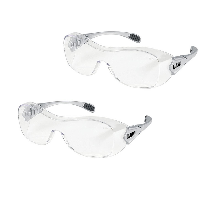 Crews OG110AF Law Over The Glass Polycarbonate Clear Anti-Fog Lens Safety Glasses (2 Pair)