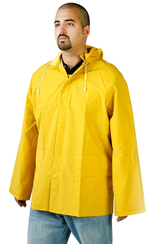 Diamond 1766 PVC Coated Nylon Titan Industrial Waterproof Jacket with Snap on Hood, 4X-Large, Green