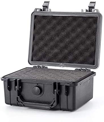 9inch Portable Waterproof Sealed Safety Equipment Instrument Box Outdoor Safety Equipment Hardware Tool Box With Cutting Sponge (Color : Black, Size : 232x192x111mm)