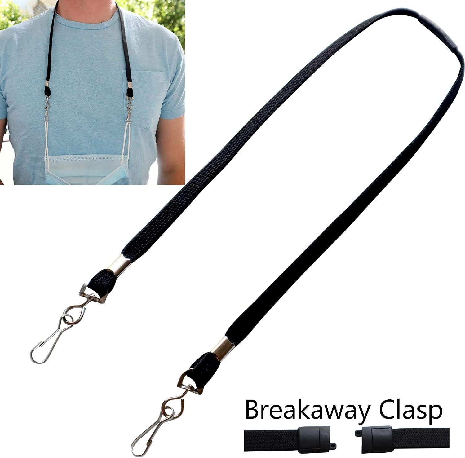 2 Pack - Face Mask Lanyard with Safety Breakaway - Adult Size Length with Quick Release Break Away Clasp - Facemask Holder/Hanger & Ear Saver w/J Clips - Great for Teachers by Specialist ID (Black)