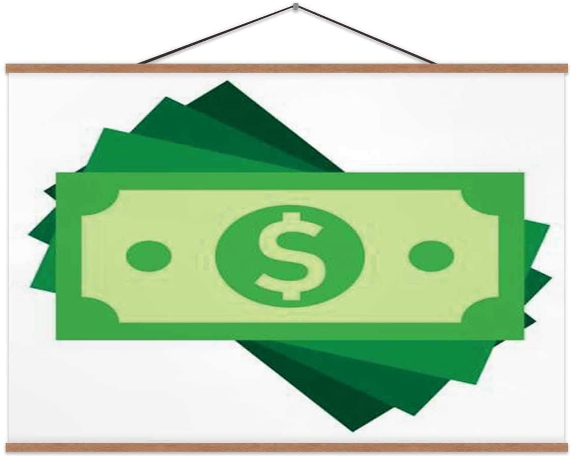 TinYida Dollar Currency Banknote Icon in Flat Style.Dollar Cash On White Isolated .Banknote Bill Business Concept. USA,Wall Art Poster Currency for Decoration 16X12In