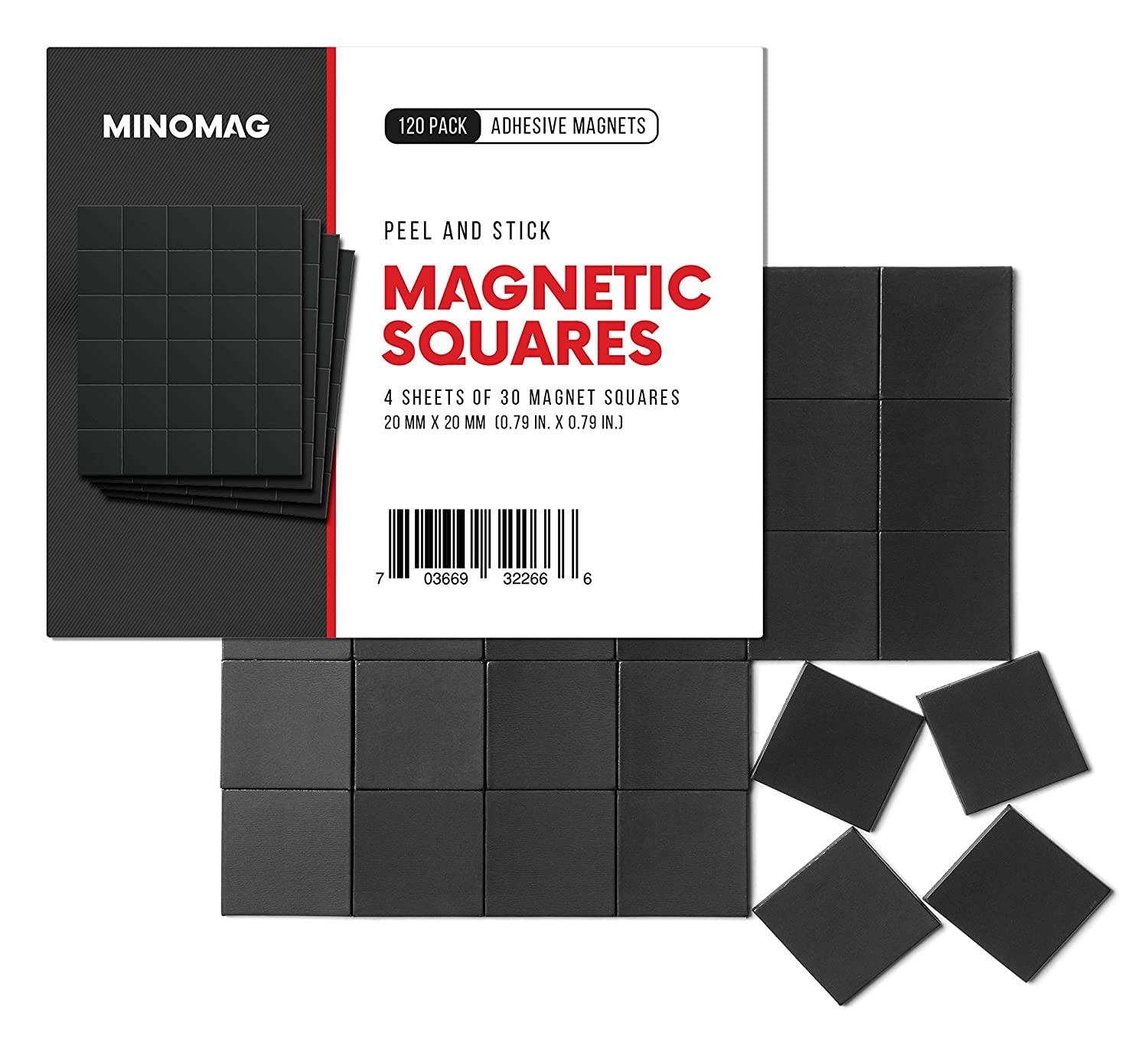 Minomag Peel and Stick Adhesive Magnetic Squares (120 Pack)   0.79 inch / 20mm Wide Small Square Multi-Use Magnet