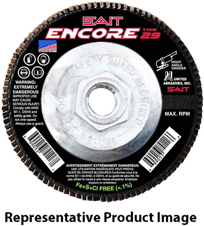 United Abrasives SAIT 71258 6x5/8-11 Encore Type 29 General Purpose With Hub Zirconium Flap Discs 60 Grit, 10 pack