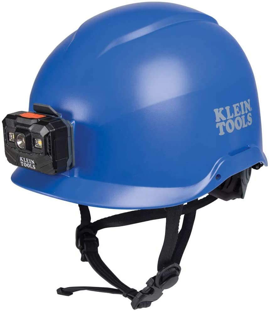 Klein Tools 60148 Safety Helmet, Blue Non-Vented Helmet with Rechargeable Headlamp, Tested to Tough Industrial Hard Hat Safety Standards