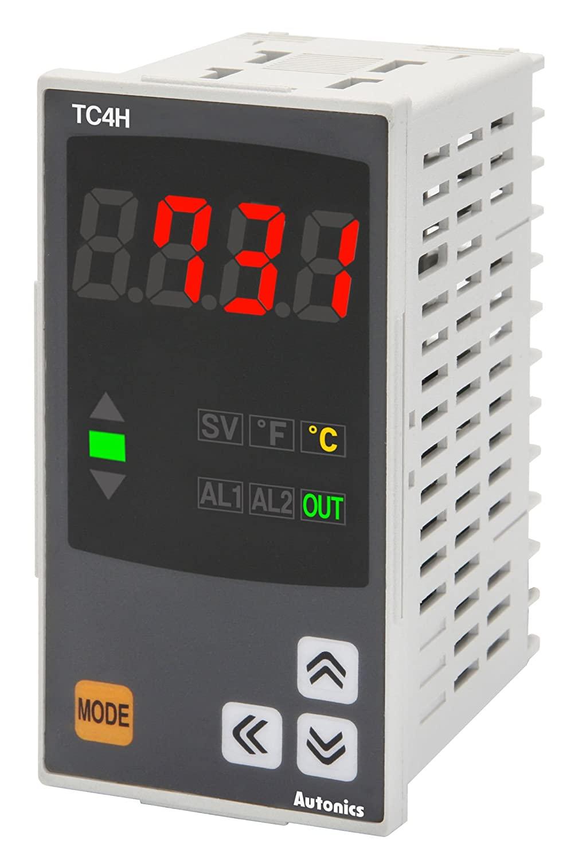 Autonics TC4H-24R Temp Control, 1/8DIN, Single Display 4 Digit, PID Control, Relay & SSR Output, 2 Alarm Output, 100-240 VAC