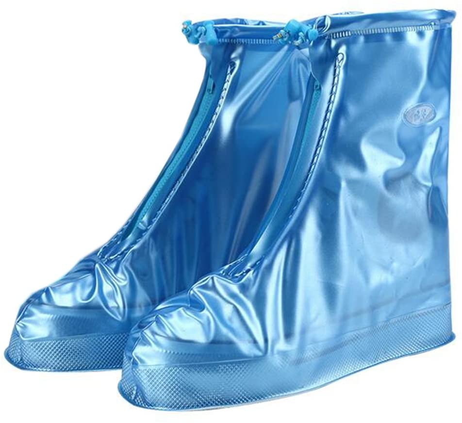 Rain Shoes Cover Women Shoes Cover Waterproof Non-slip Wear-resisting Outdoor Rain Boots Cover (XXL, Blue)