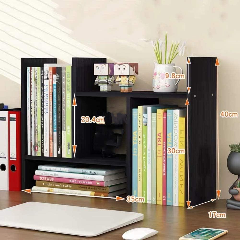 Expandable Desktop Shelf,Free Style Rotation Display Multipurpose Office Supplies Desk Organizer for Home Office-Black Walnut 70x17x40cm(28x7x16inch)