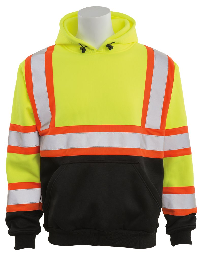 ERB Safety Products 63638 ERB W376BC HVL Pullover Sweatshirt with Contrasting Trim and Black Bottom, Class 3, 2XL, Yellow