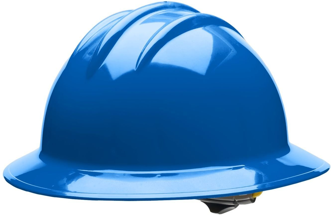 Bullard 34PBR Classic Extra Large Full Brim Style Hard Hat, 6 Point Ratchet Suspension, Pacific Blue, One Size