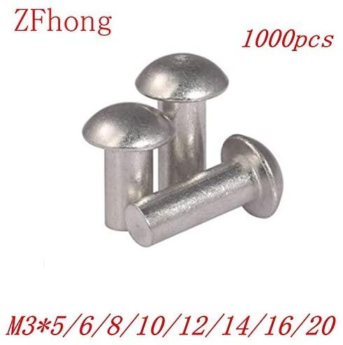 Ochoos 1000PCS M35/6/8/10/12/14/16/20 diameter 3mm Pan half round Head Aluminum Solid Rivet - (Stem Length: m3x12)
