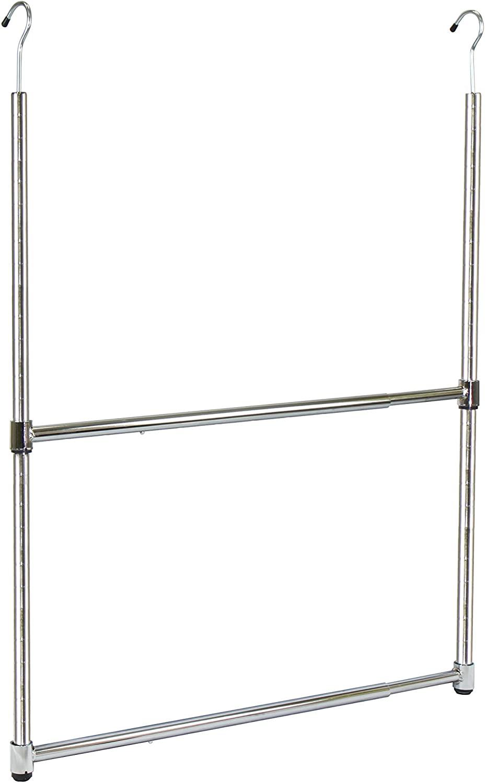Oceanstar 2-Tier Portable Adjustable Rod Closet Hanger, Chrome