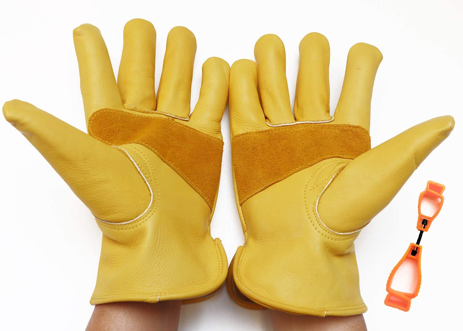 VidaLoda Heavy Duty Leather Work Gloves for Gardening/Farming/Construction/Motorcycle/Industral Use, Cowhide Working Glove, Both for Men & Women, 1 Pair 1 Glove Clip, (Gold, Large)