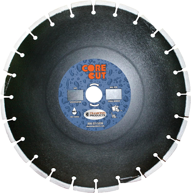 Diamond Products Core Cut 16701DIA Premium Cured Concrete Diamond Blade, 14-Inch x 0.375-Inch x 1-Inch, Black