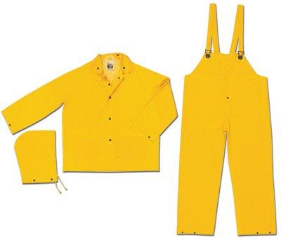 River City FR2003XL Flame Resistant Rain Suit, Jacket/Hood/Pants, 0.35 mm PVC/Poly, Yellow, X-Large