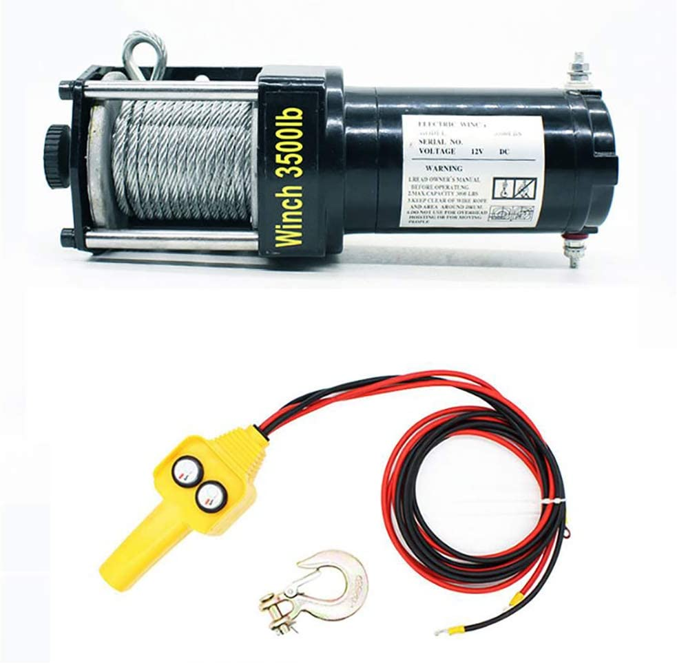 ANJING 12V/24V Electric Winch,Electric Hoist 3500lb Load Capacity