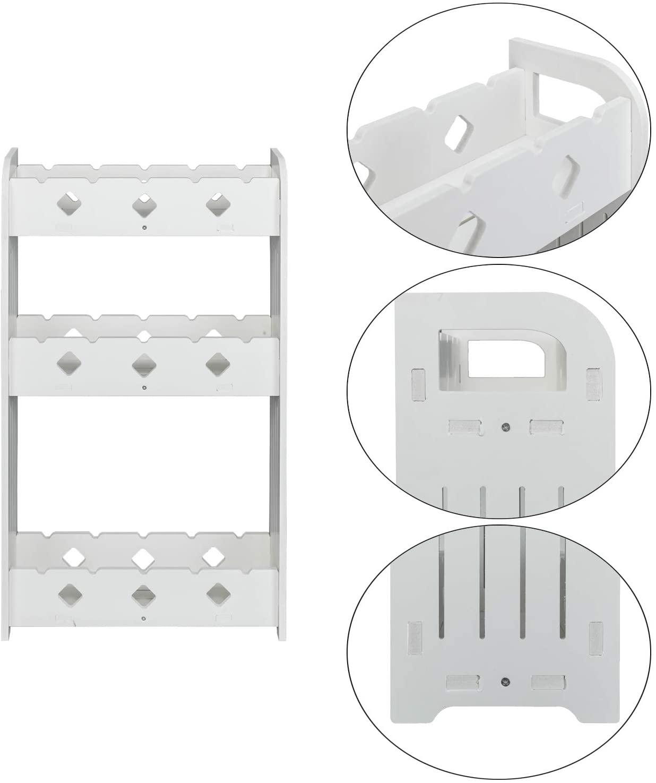 JX-Trading 3 Tier Hollow Design Kitchen Bathroom Shelf Wall Rack Storage Home Saving Wood Plastic Board Organizer Holder