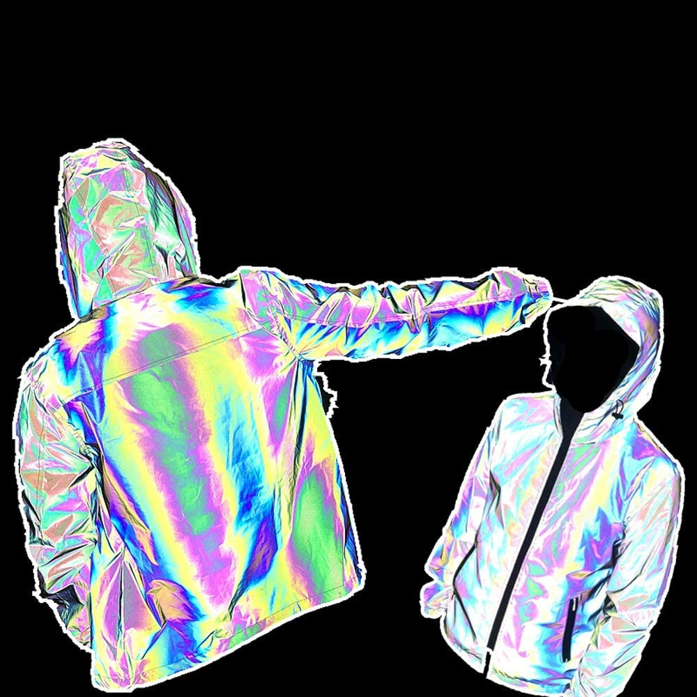 Dertyped Reflective Safety Jacket Men Women Jacket Gradient Reflective Windbreaker Couple's Stage Clothes Colorful with Quilted Lining (Color : Gray, Size : M)