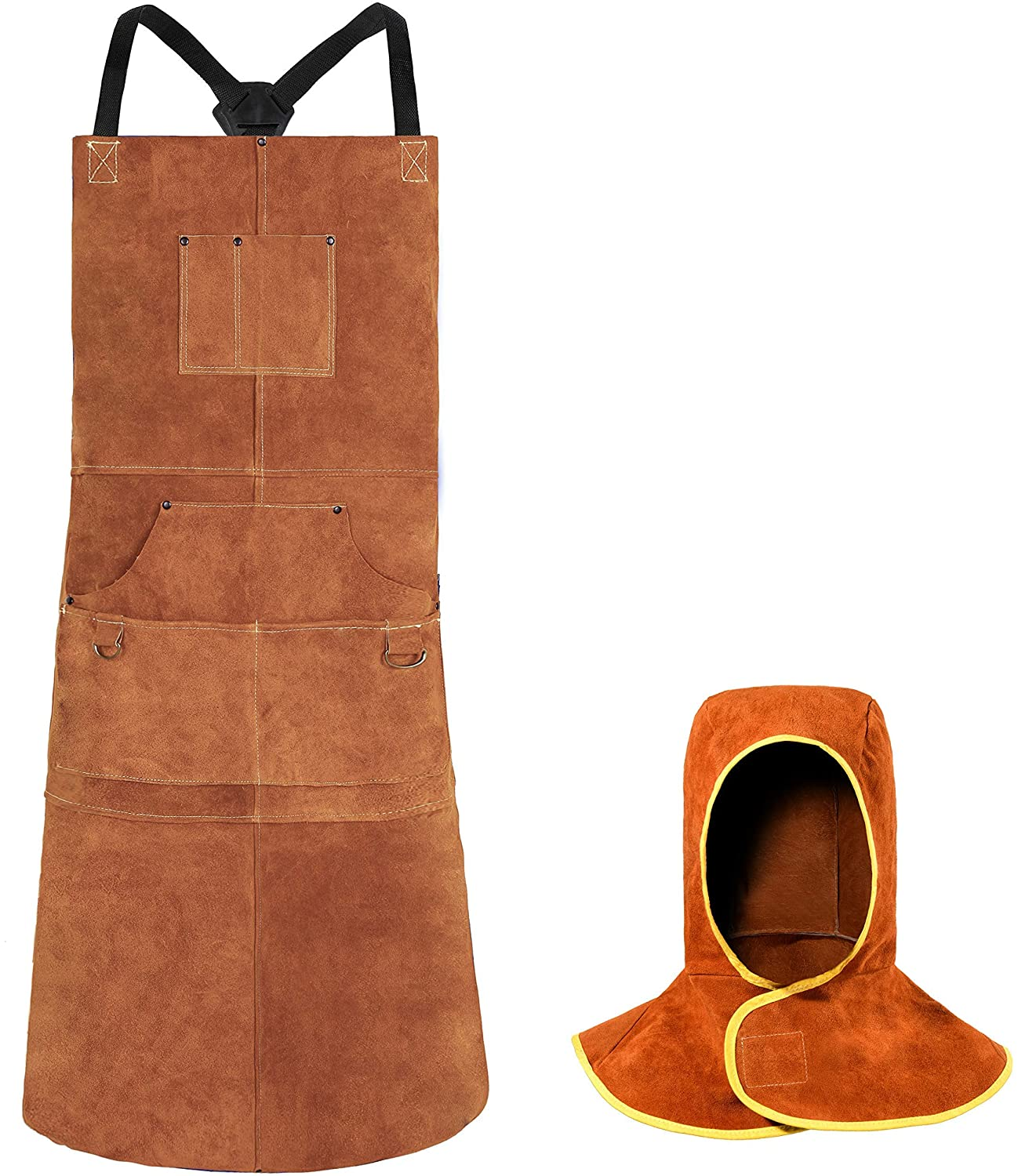 Leather Welding Apron with Welding Hood - Heat & Flame Protection - Adustable M to XXXL for Men & Women