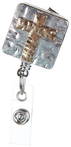 Hammered Cross Badge Reel