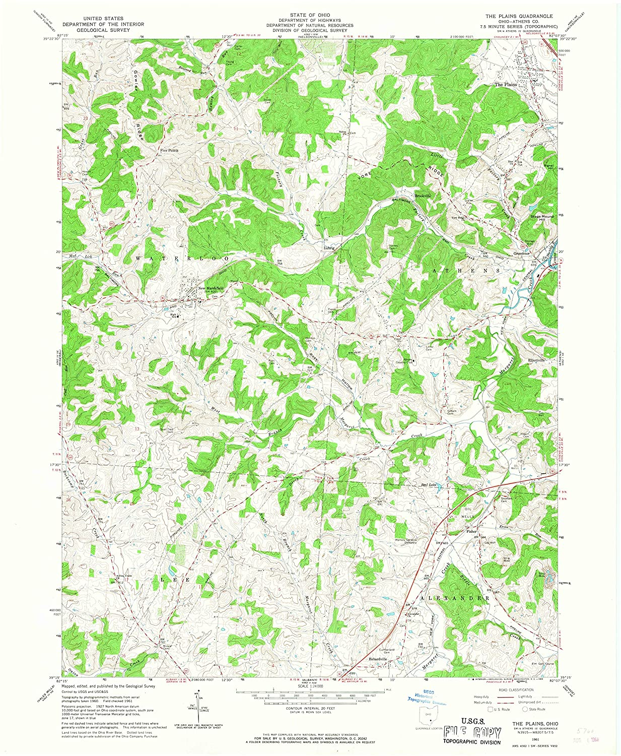 Map Print - The Plains, Ohio (1961), 1:24000 Scale - 24
