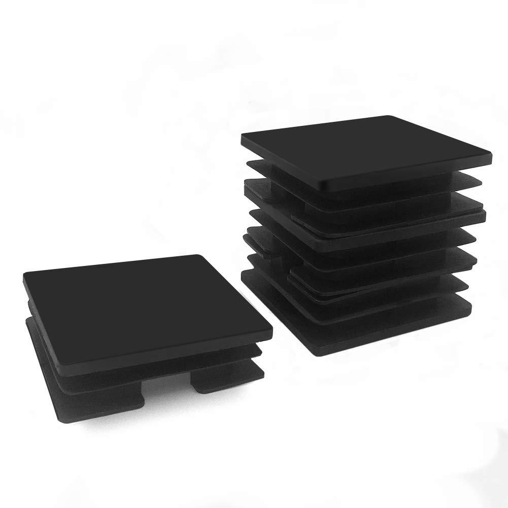 Square Plastic Plug 3 Inch Riccioofy 4Pcs Tubing Plug Cap Tubing End CapChair Glide Insert Finishing Plug Black