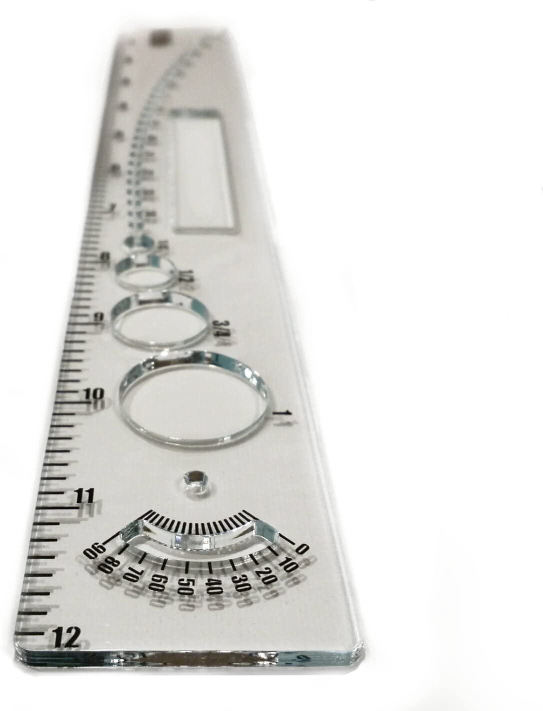DrawClear Multifunction Ruler, 12 inch, Compass, Protractor, Circle & Square Stencil