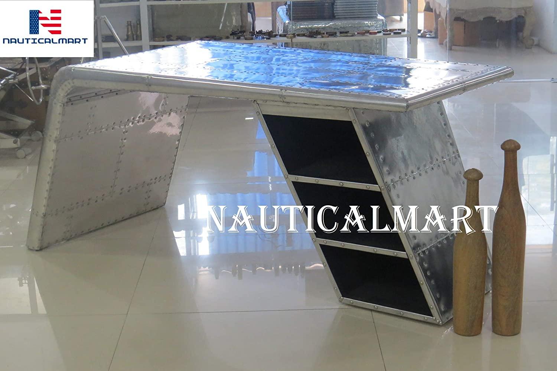 Aviator Wing Desk Vintage Aluminium Table Mid Century Aviation Furniture