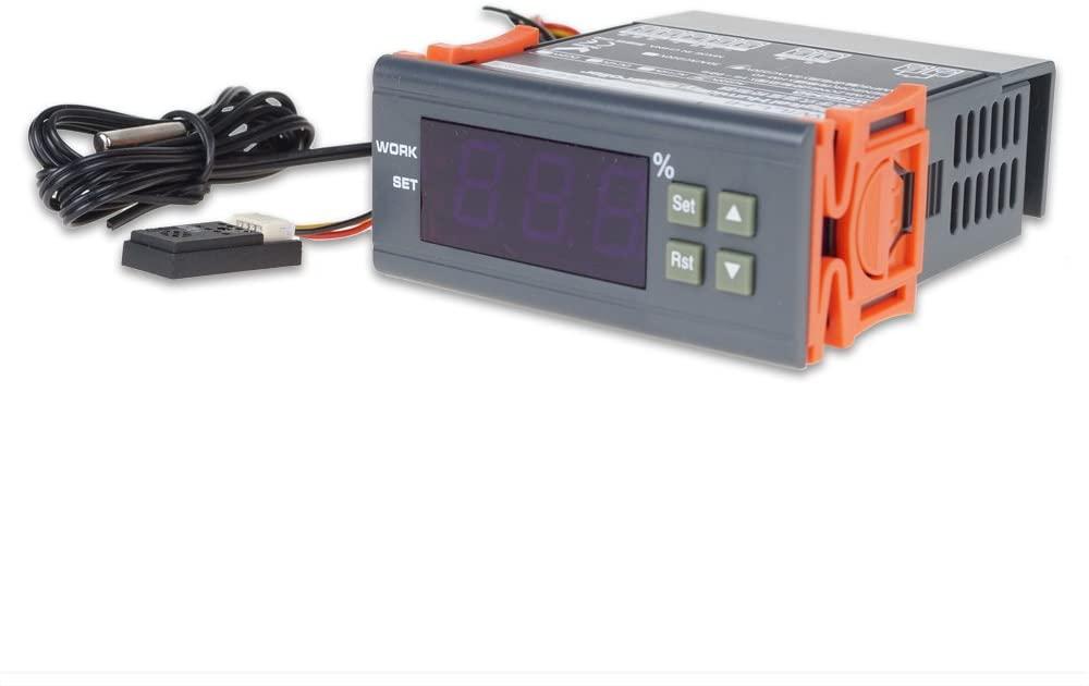 UCONTRO Digital Air Humidity Controller Sensor Humidistat Measuring Range 1%~99% RH AC Humidification Dehumidification for Aquatic Pet, Reptiles & Amphibians, House Basement (220V AC)