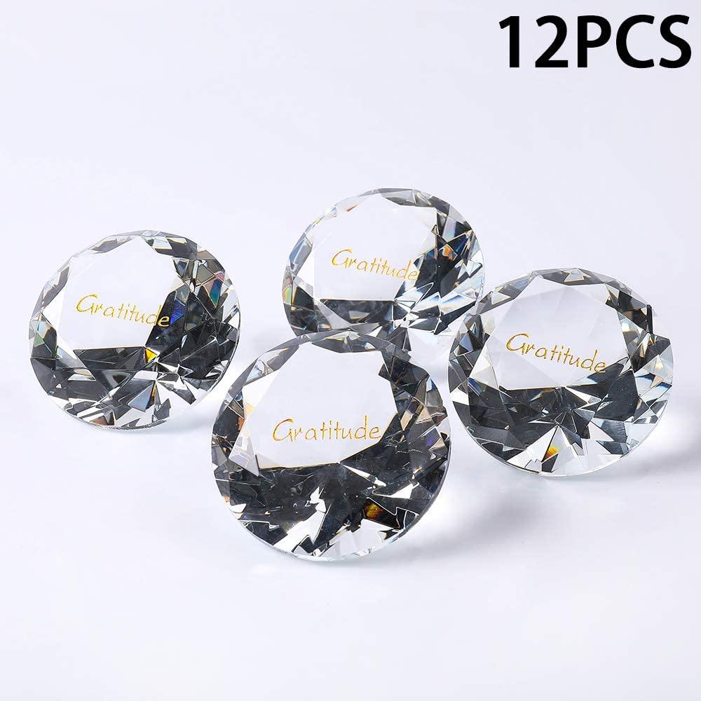 "RockImpact 12PCS Gratitude 60mm (2.5"") Extra-Large Engraved Clear Crystal Diamond, Prism Suncatcher Rainbow Maker, Wedding Table Decoration, Paperweight Thankful Appreciation Glass Crystal"