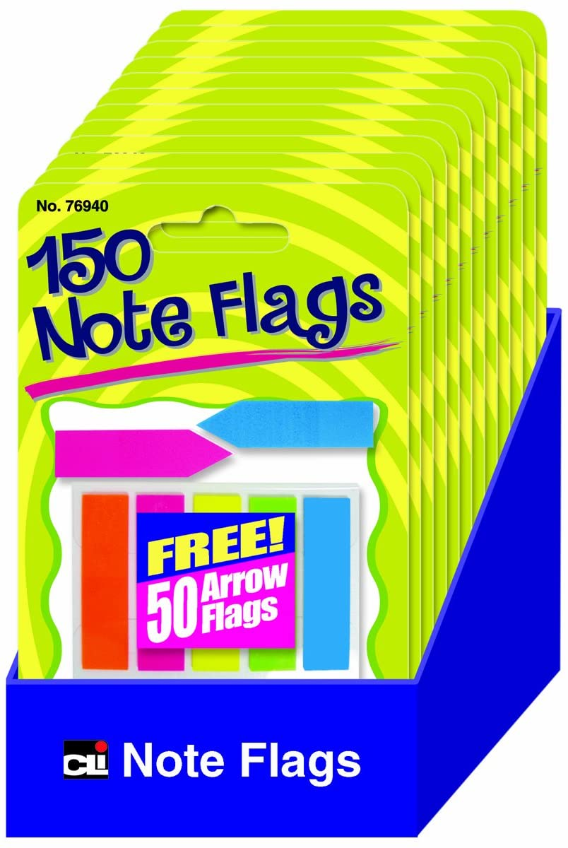 Charles Leonard Peel Off Sticky Notes Flags, 140 Paper Markers and 50 Arrow Flags per Pack, Assorted Colors, 12 Packs and Shelf Tray (76940-ST)