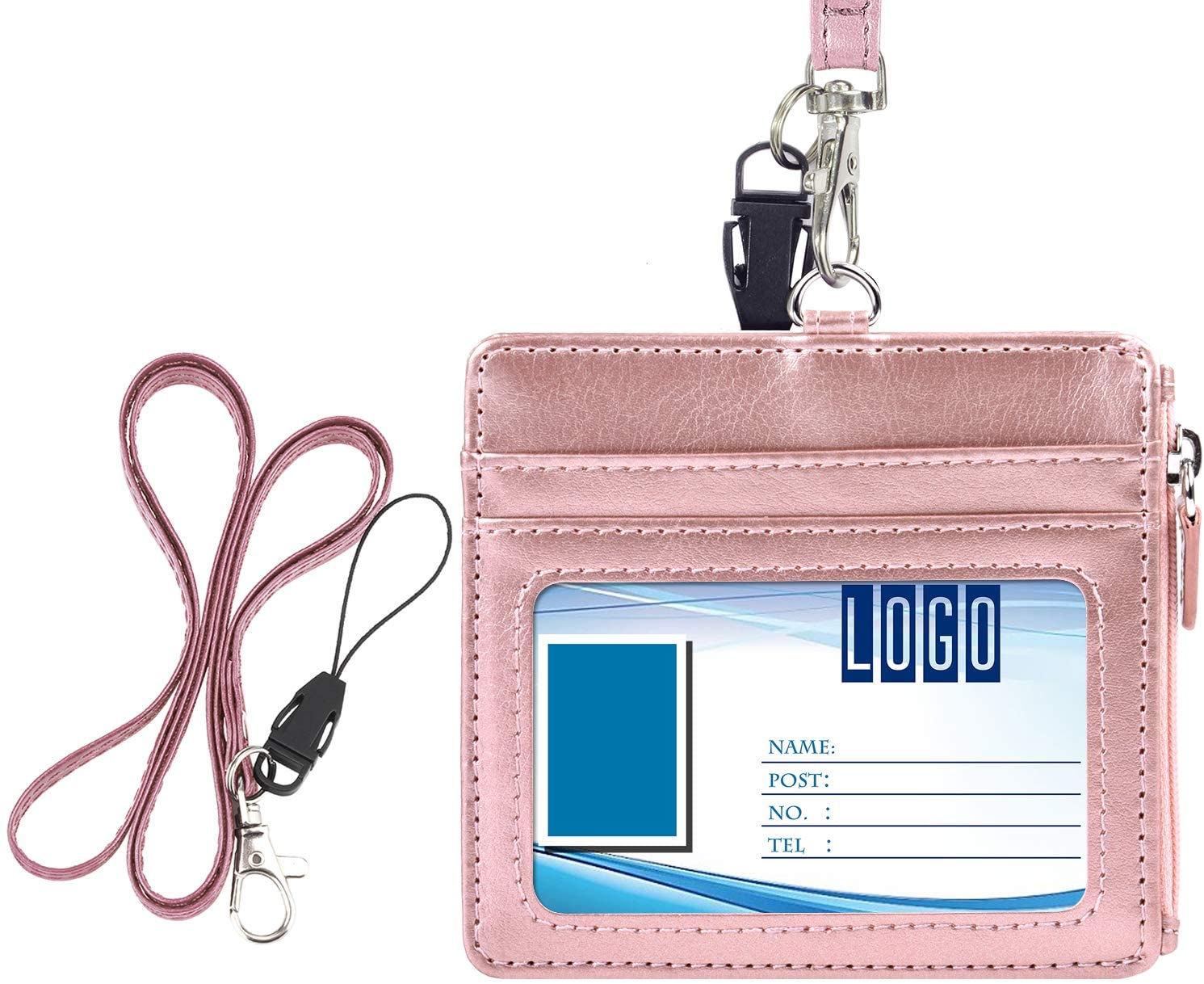 Badge Holder with Zip, Wisdompro 2-Sided PU Leather ID Badge Holder with 1 ID Window, 4 Card Slots, 1 Side Zipper Pocket and 1 Piece 20 Inch Leather Neck Lanyard Strap - Rose Gold (Horizontal)