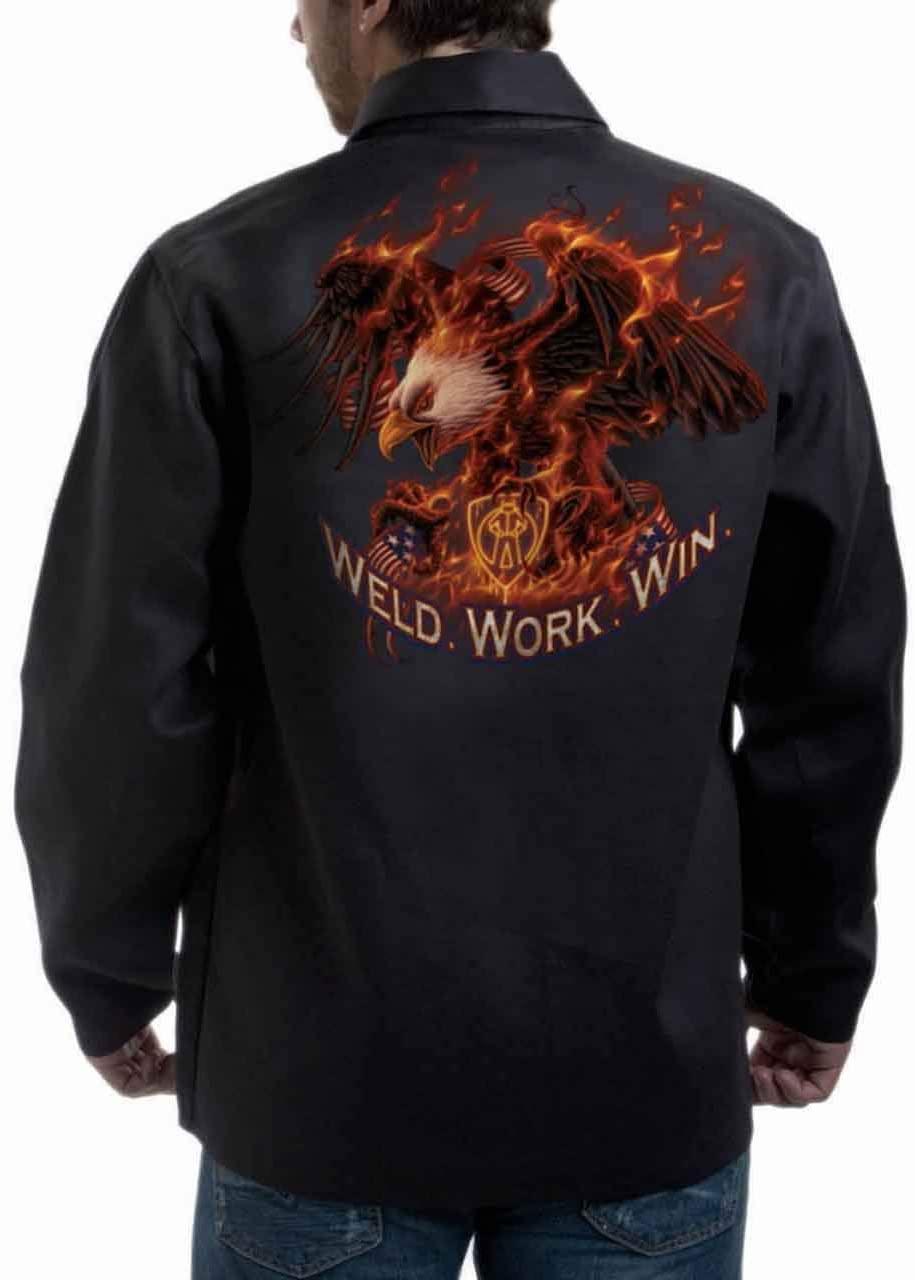 Tillman 9063 30 9 oz. ONYX FR Cotton JacketWeld.Work.Win Logo, Medium