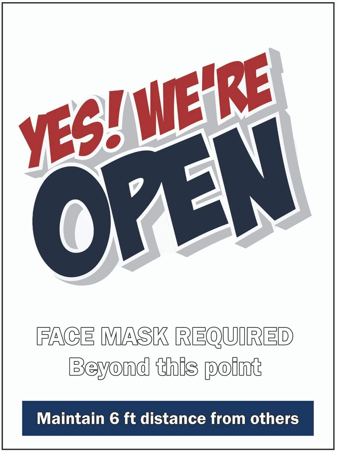 We're Open Sign – 8 Mil Static Cling Sign 9x12 Inches Yes We 're Open Door Sign with Face Mask Required 6ft Distance for Restaurant Grocery Store Coffee Shop Business