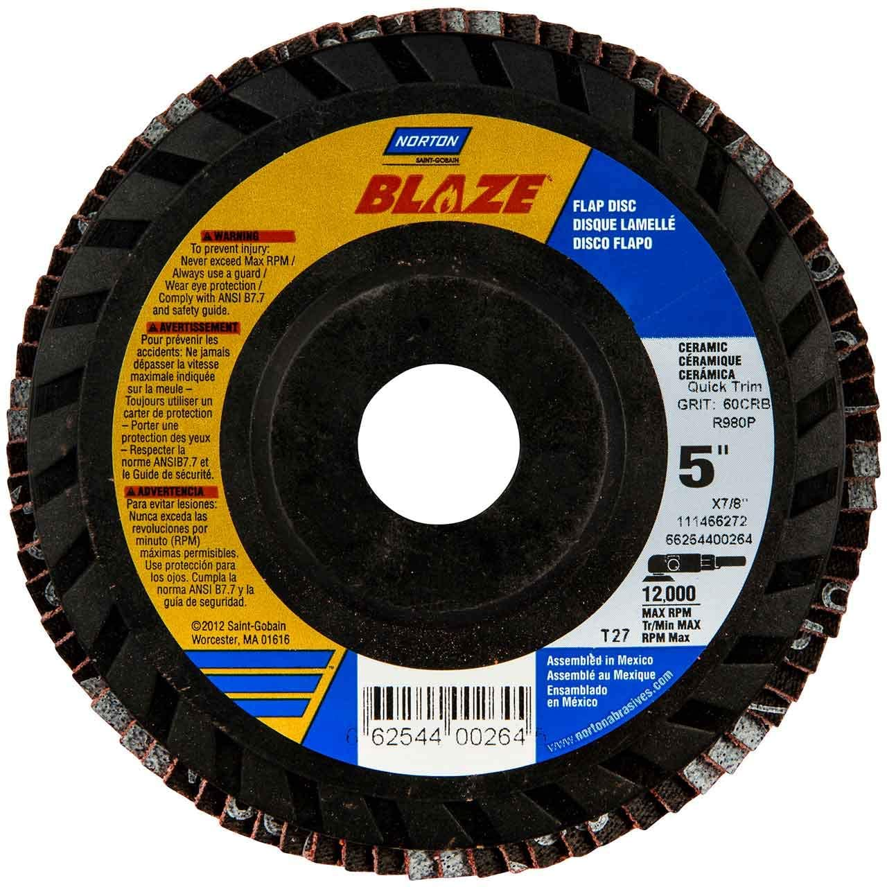 Norton 66254400264 5x7/8 in. Blaze Coated Flap Discs, 60 Grit, 10 pack