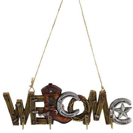Key Holder 4 Hook Rack, Western Welcome Wall Plaque Sculpture, 10