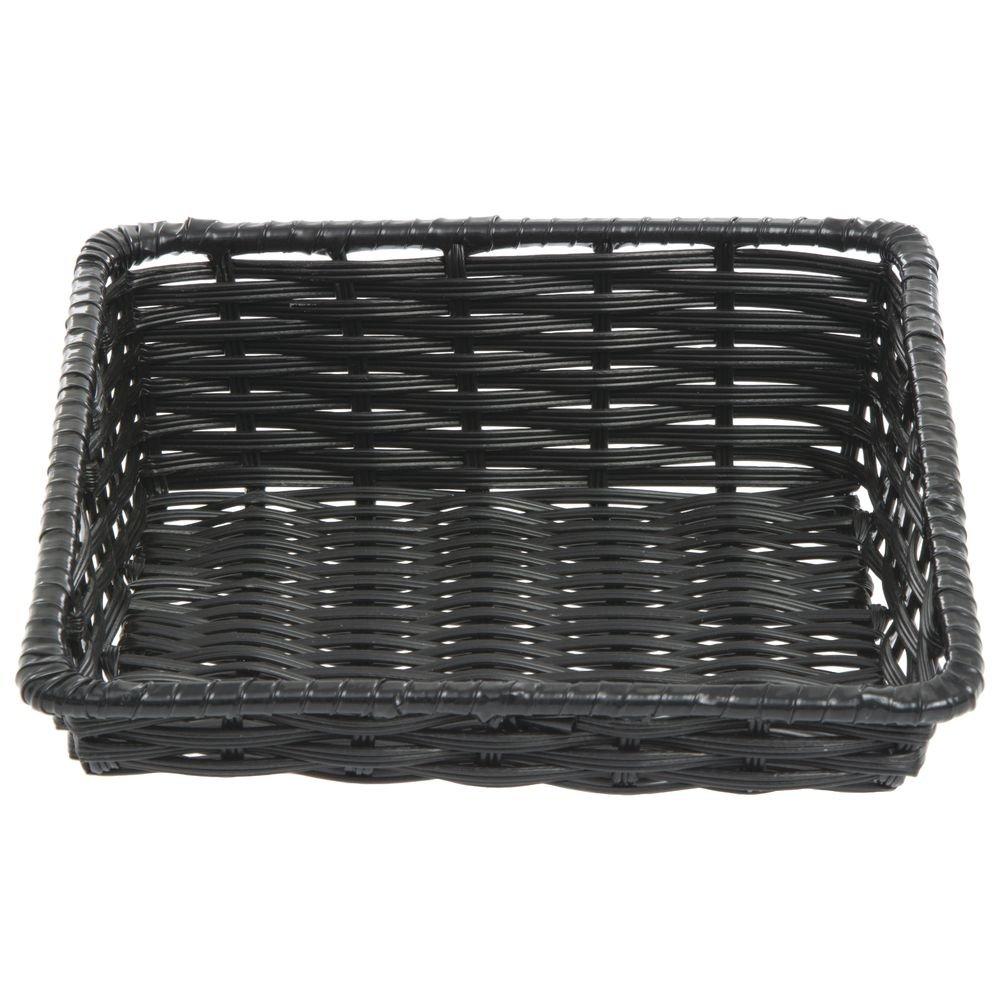 Wicker Look Tapered Storage Basket, Rectangular Black - 11 1/2