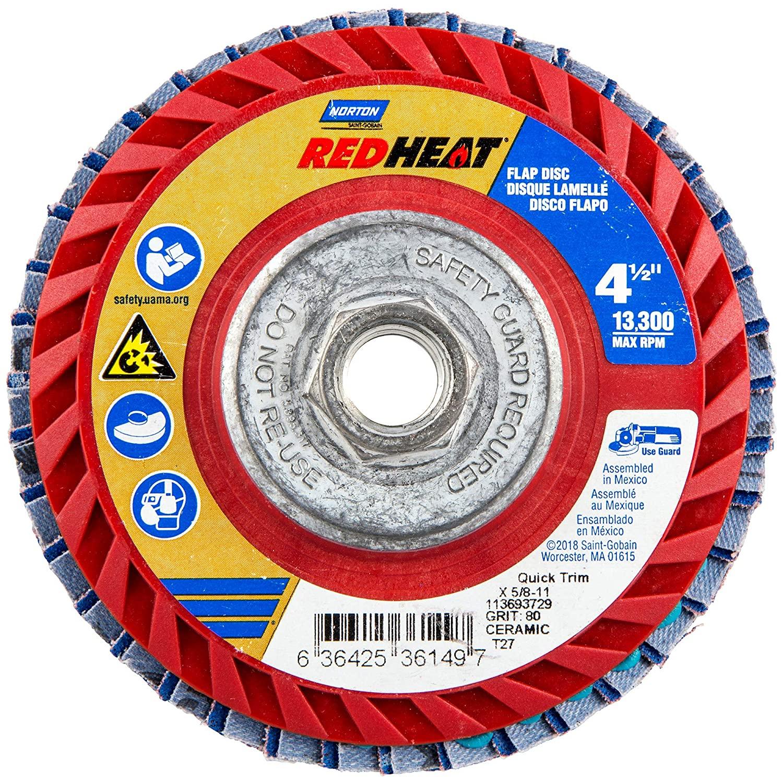 Flap Disc, 4 1/2 In x 80 Grit, 5/8-11